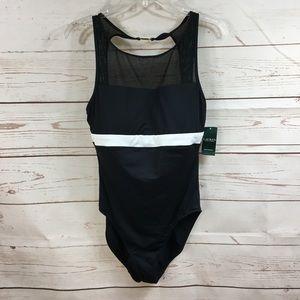 Lauren Black White Stripe Bathing Suit